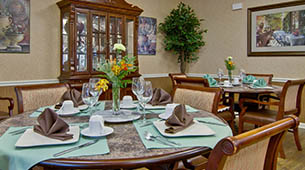 Services and amenities for senior living residents at Parkwood Meadows.