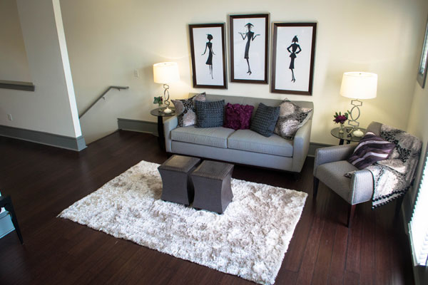 Living room with plank flooring