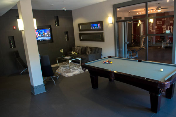Pool table clubhouse and fitness center
