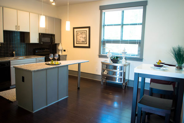 Spacious open apartment kitchen