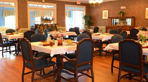 Dining room at the senior living facility in Spartanburg