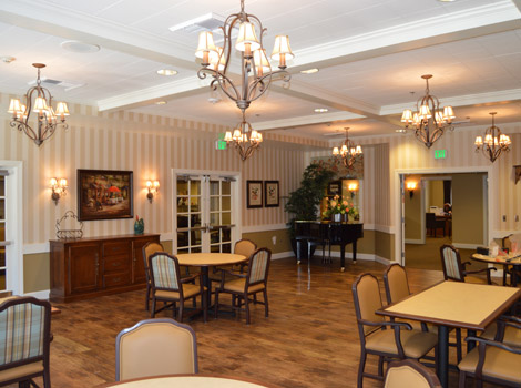Luxury dining room at the senior living community in Reno