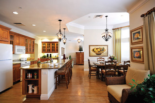 Modern kitchen and dining at tequesta assisted living