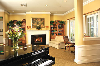 Piano and lobby at tequesta assisted living home