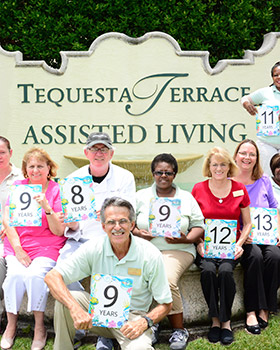 Dedicated staff digs doing work at Tequesta, FL senior living.