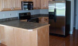 Interior model kitchen at boonville senior living community
