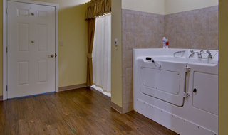 Senior living model bathroom by front door