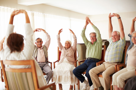 Senior living facility in Grenacres has residents exercising