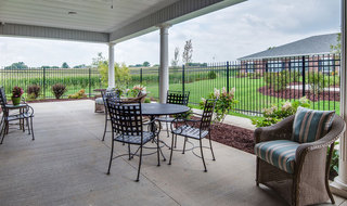 Outdoor dinning area at memory care in quincy