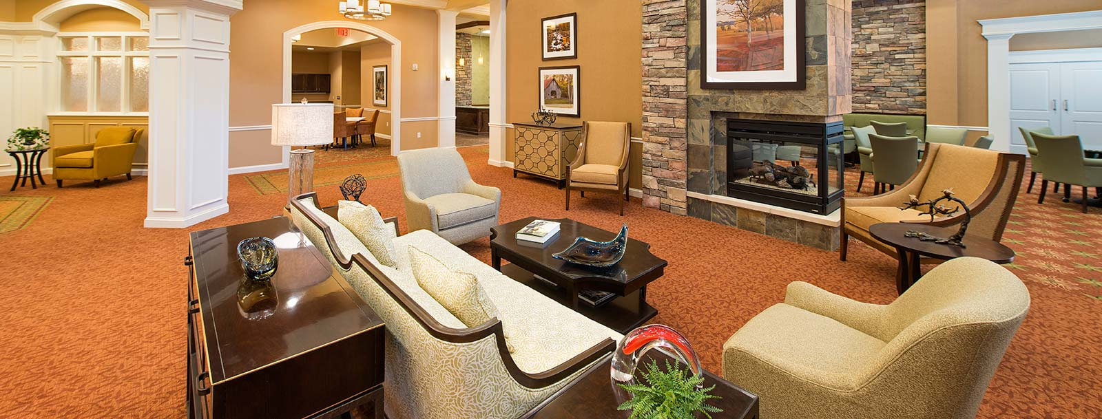 Senior living facility has a relaxing common room