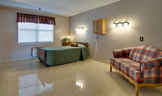 Single bedroom at marceline skilled nursing