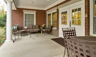 Community patio area for collierville memory care residents