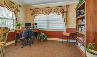 Compter and reading room at chanute skilled nursing
