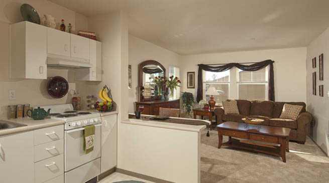 the kitchen and living room at GenCare Granite Falls at The Village in washington