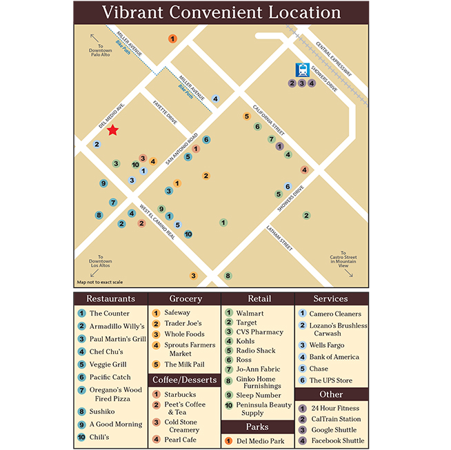 Map of the neighborhood surrounding apartments in Mountain View
