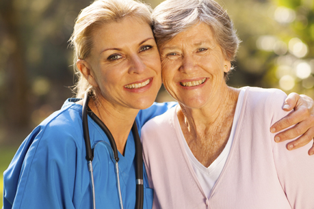skilled nurse and resident at Bath Creek Estates