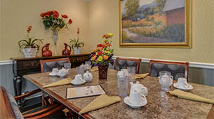 Services and amenities for senior living residents at Carrington Place.
