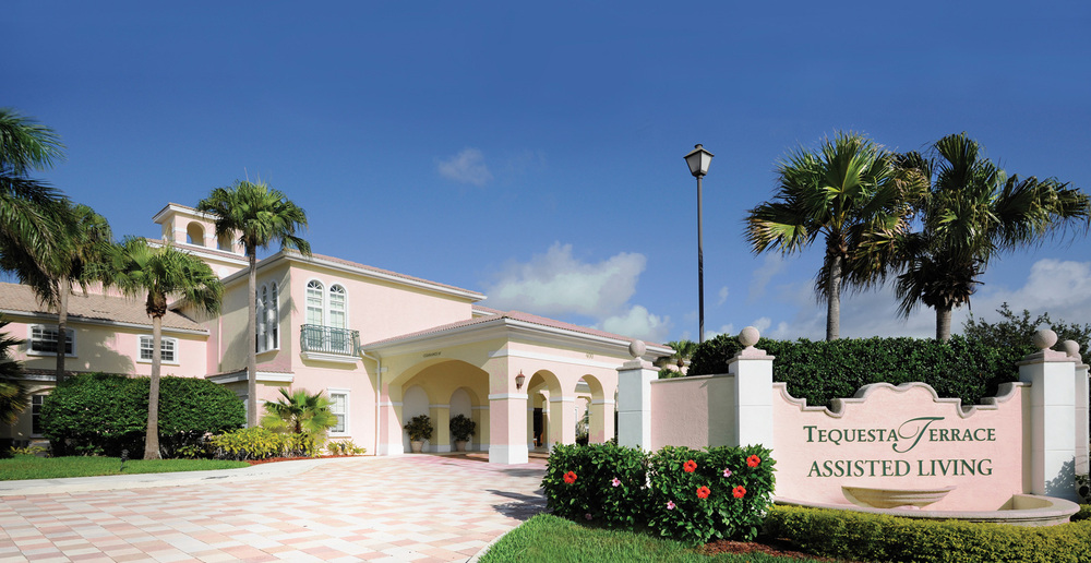 Entrance to senior living facility in tequesta fl pink