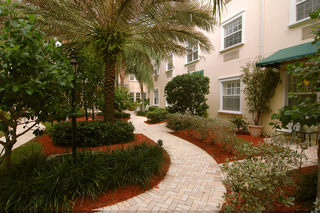 Tropical like setting at tequesta florida senior living pink