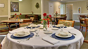 Services and amenities for senior living residents at Eiffel Gardens.