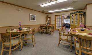 Dining hall at oswego assisted living