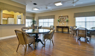 Dining area and kitchen at troy assisted living