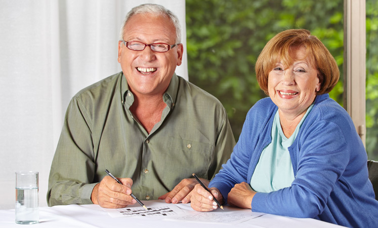 Wichita senior living happy couple crossword puzzle