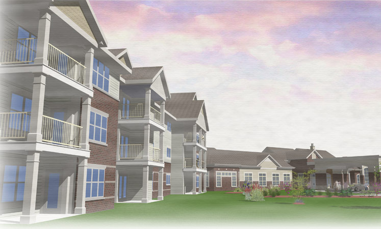Wichita senior living shows a 3d rendering of the exterior building