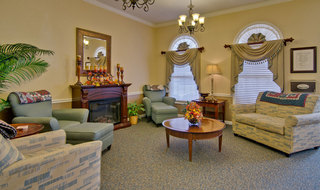 Fireplace at assisted living community in henderson