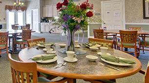 Services and amenities for senior living residents at Foxberry Terrace.