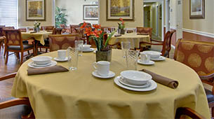 Services and amenities for senior living residents at Greenbrier Meadows.