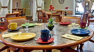 Services and amenities for senior living residents at Northridge Place.