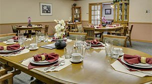 Services and amenities for senior living residents at Oswego Home Place.