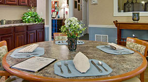 Services and amenities for senior living residents at Southern Oaks.