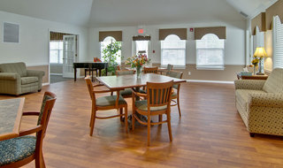 Assisted living seating area with piano in union