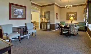 Community seating area in union city assisted living