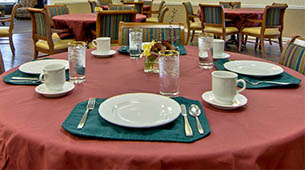 Services and amenities for senior living residents at The Etheridge House.