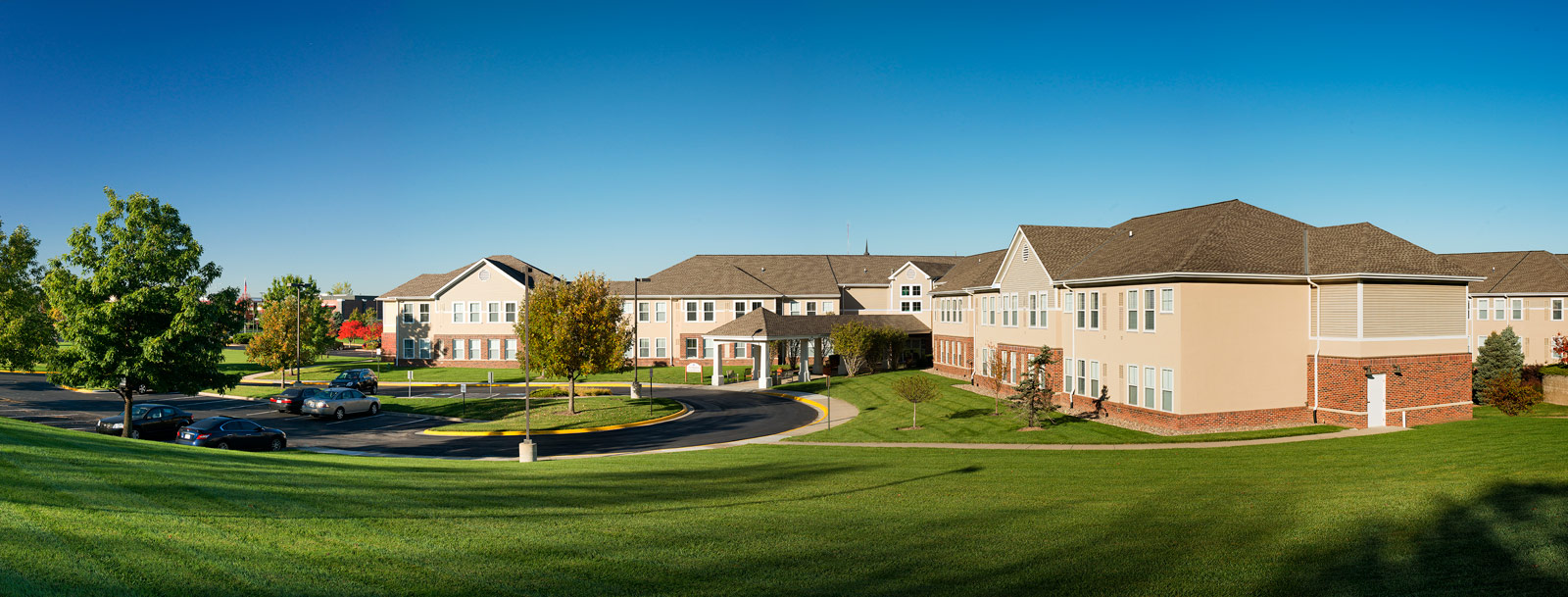 Senior living in Olathe has well landscaped yards