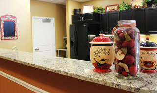 Kitchen counter in memory care at the senior living facility in Wichita