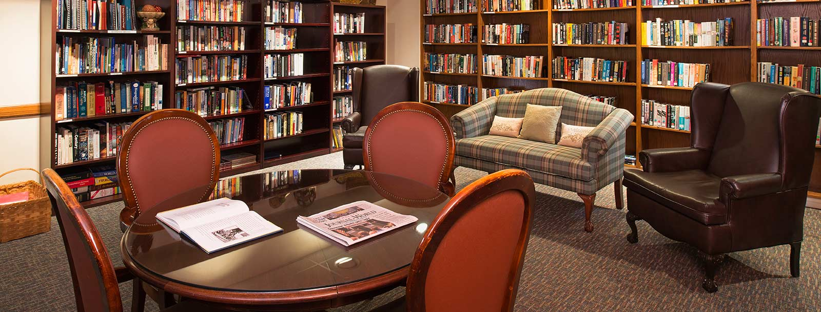 Library at the senior living in Lawrence