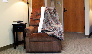 Respite care relaxing chair in Dodge City senior living