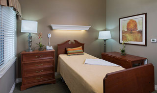 Spacious bedroom in Topeka senior living facility