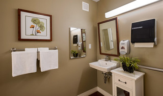 Olathe senior living has a modern bathroom