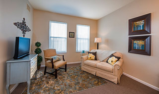 Spacious living room in Olathe senior living community