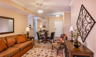 Spacious living room at the senior living community in Olathe