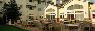 Senior living community patio in vancouver