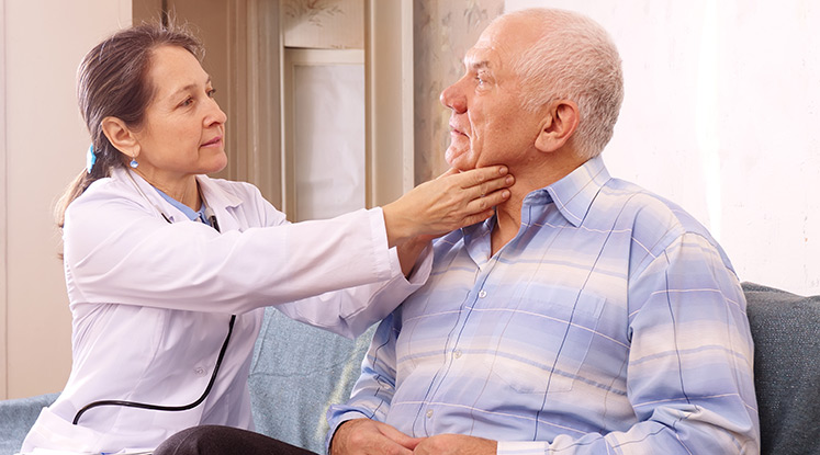 Doctor checking the resident at the senior living community in Fort Scot