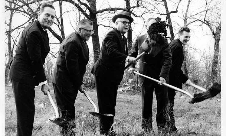 Senior living in Kansas City shows an old picture of the owners digging the location