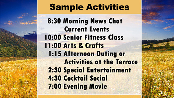 Activities and other enjoyable programs at our senior living home in Woodstock, VT