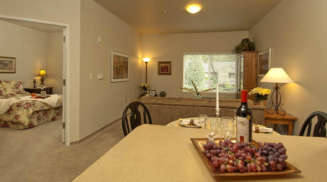 One bedroom senior living apartment at GenCare Renton at The Lodge in Washington